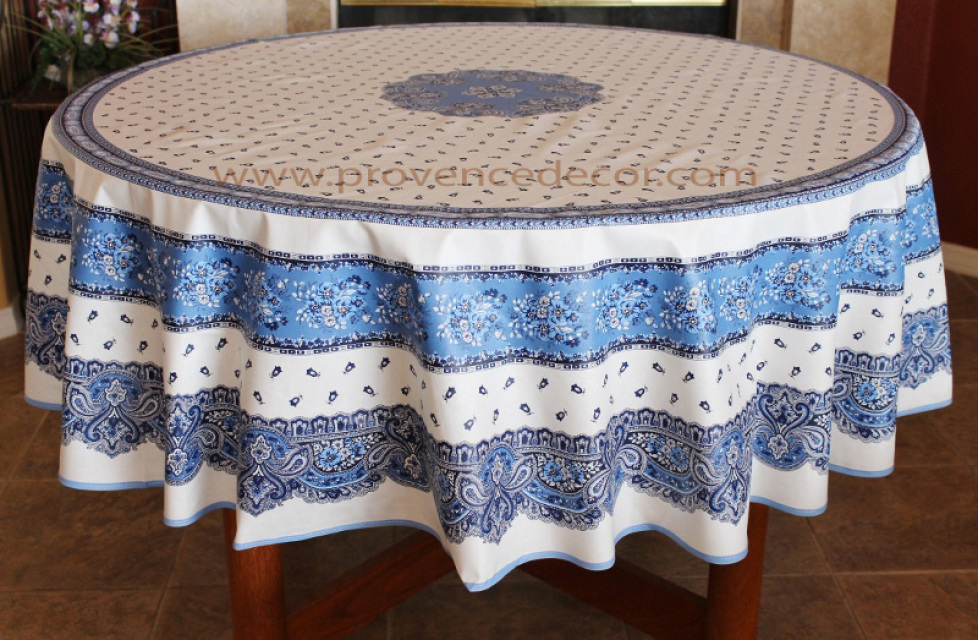 French Provence TRADITION WHITE Acrylic Coated Tablecloth