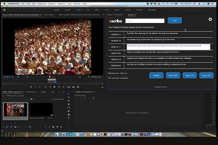 Ascribe.ai: affordable, fast transcription for Adobe Premiere Pro