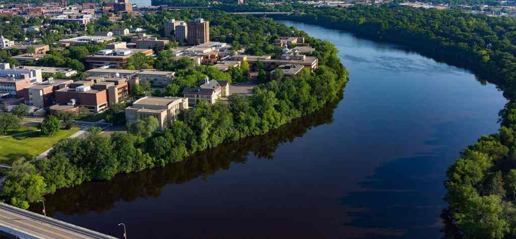 St Cloud State University aerial drone photograph - video production companies in St Cloud