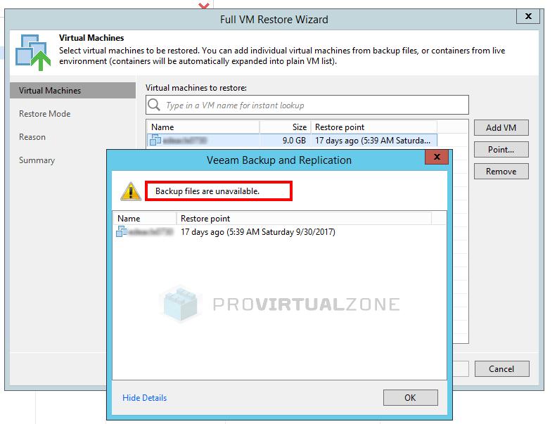 Veeam: How to fix Broken backup chain > ProVirtualzone