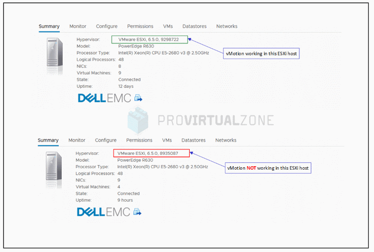 vMotion fails to migrate and EVC fails to enable