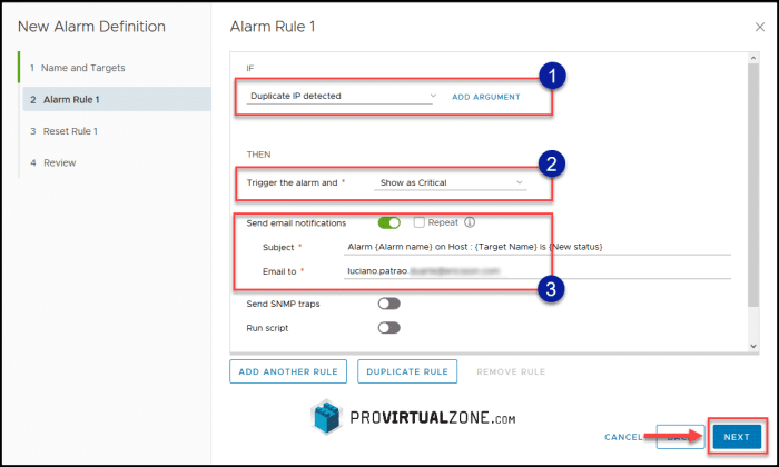 Create vCenter Alarm for Duplicated IP