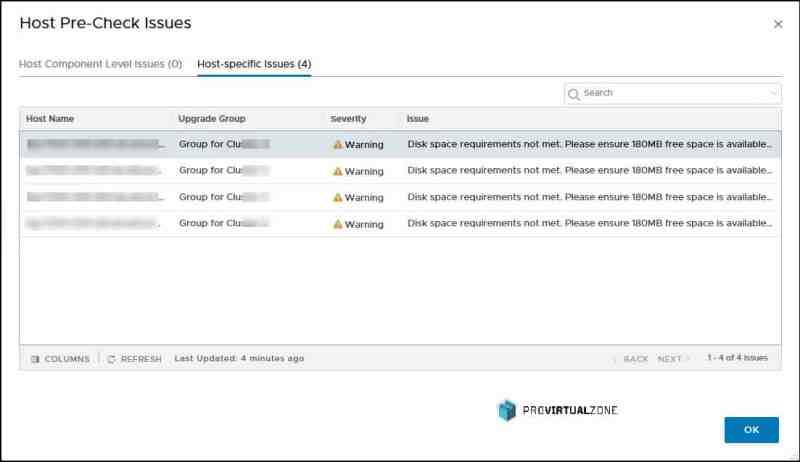 NSX-T upgrade - disk space requirement not met