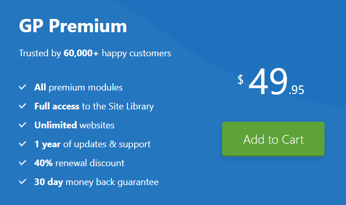 Pricing of GeneratePress Theme