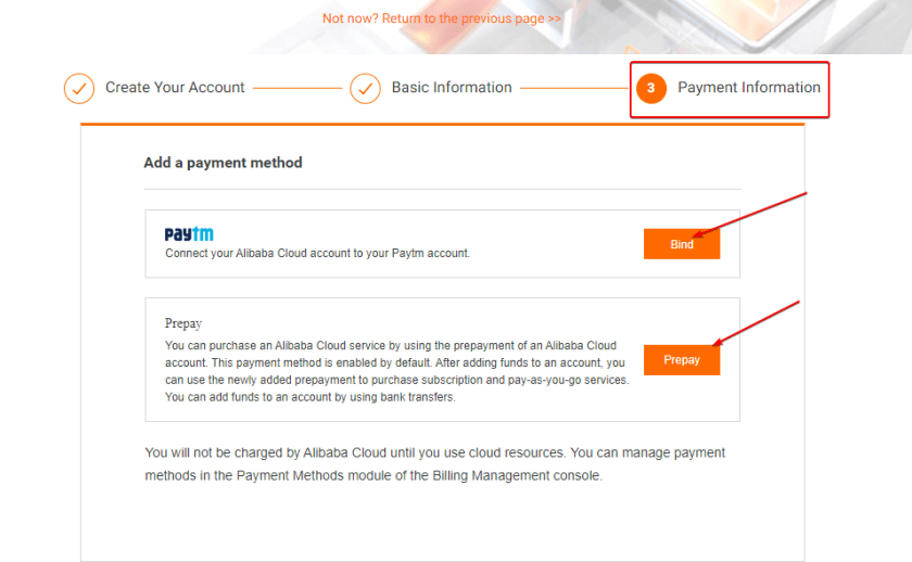 Filling Payment Information on Alibaba cloud, Adding payment method like Paytm, PayPal