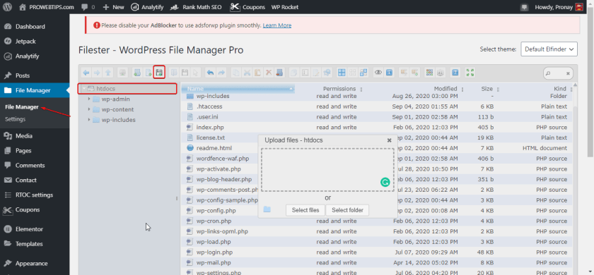 Upload Sellers.json File in Root Directory using WP File Manager or Filester Pro Plugin