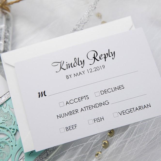Tiffany Blue Swirl Laser Cut Wedding Invitation Kits