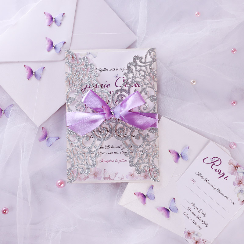 lilac butterfly invitation for wedding shower and birthday celebration pwil139 pro wedding invites