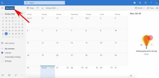 Outlook calendar home page with arrow on new event button