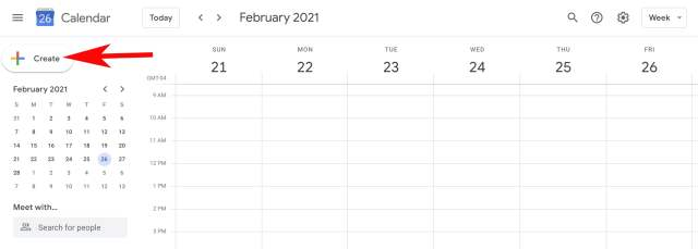 Google Calendar homepage with arrow for button creation