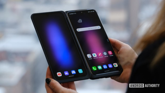 LG V60 second display in hand opened from the front 1