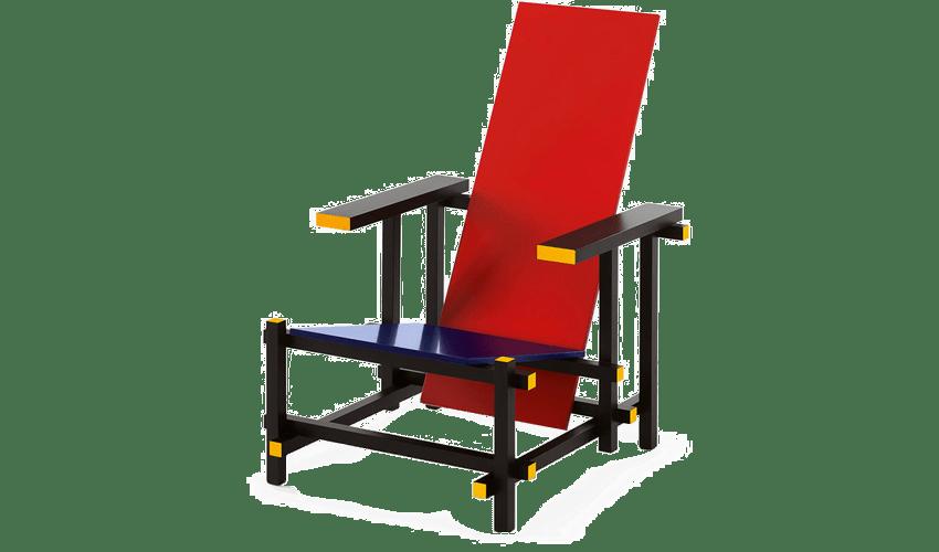 mobiliario diseñado por arquitectos: Silla roja y azul de Guerrit Rietveld
