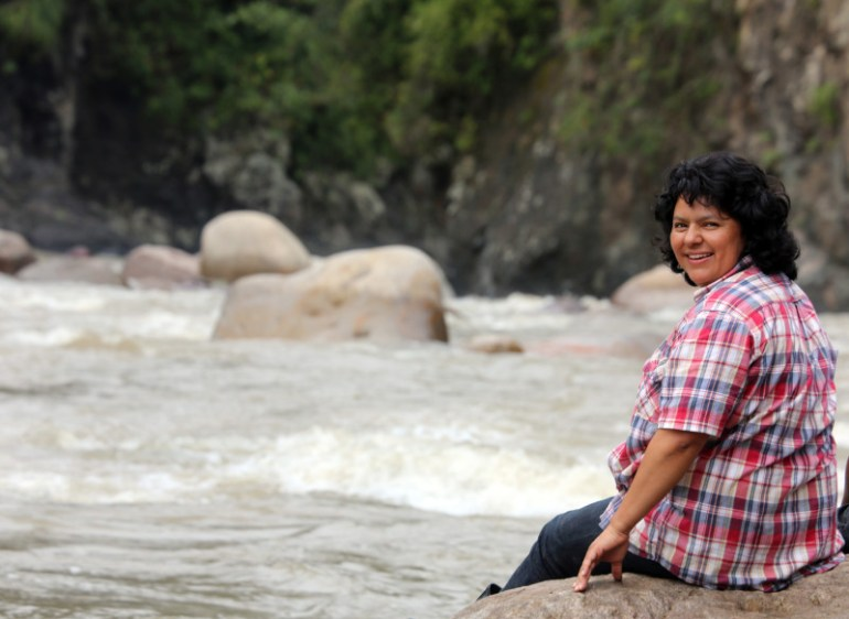 Berta Caceres stands at the Gualcarque River in the Rio Blanco region of western Honduras where she, COPINH (the Council of Popular and Indigenous Organizations of Honduras) and the people of Rio Blanco have maintained a two year struggle to halt construction on the Agua Zarca Hydroelectric project, that poses grave threats to local environment, river and indigenous Lenca people from the region.