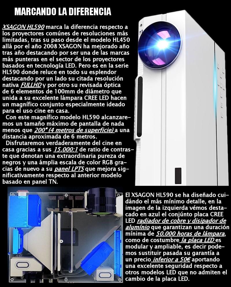 Xsagon marca la diferencia respecto a los proyectores comúnes de resoluciones mas limitadas, tras su paso desde el modelo HL450 allá por el año 2008 XSAGON renueva año tras año su serie estrella HL con el magnifico HL590