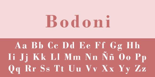 fuente de letra bodoni