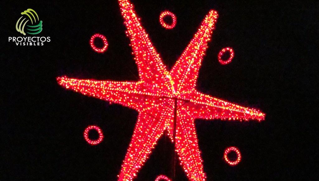 Estrella volumétrica en tela y luz led roja para fachadas