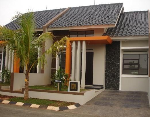 warna cat teras rumah dengan kombinasi orange abu abu pada model teras rumah sederhana
