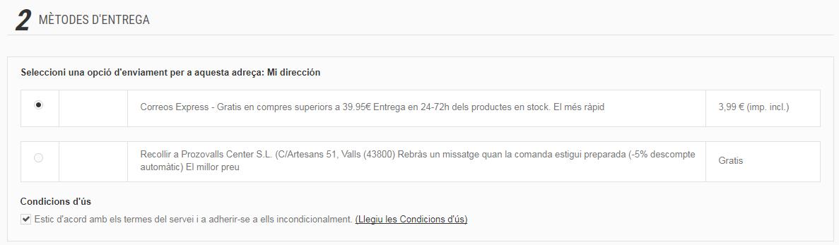 Mètodes d'entrega de Prozovalls.es