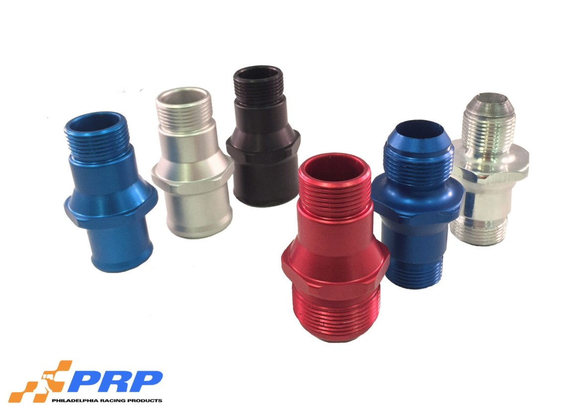 Red Blue Black and Clear O-Ring Style Hose Adapter Fittings made by PRP Racing Products