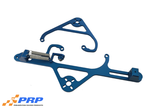 Blue 4150 Nitrous Valve Mounting Brackets with Throttle Bracket made by PRP Racing Products