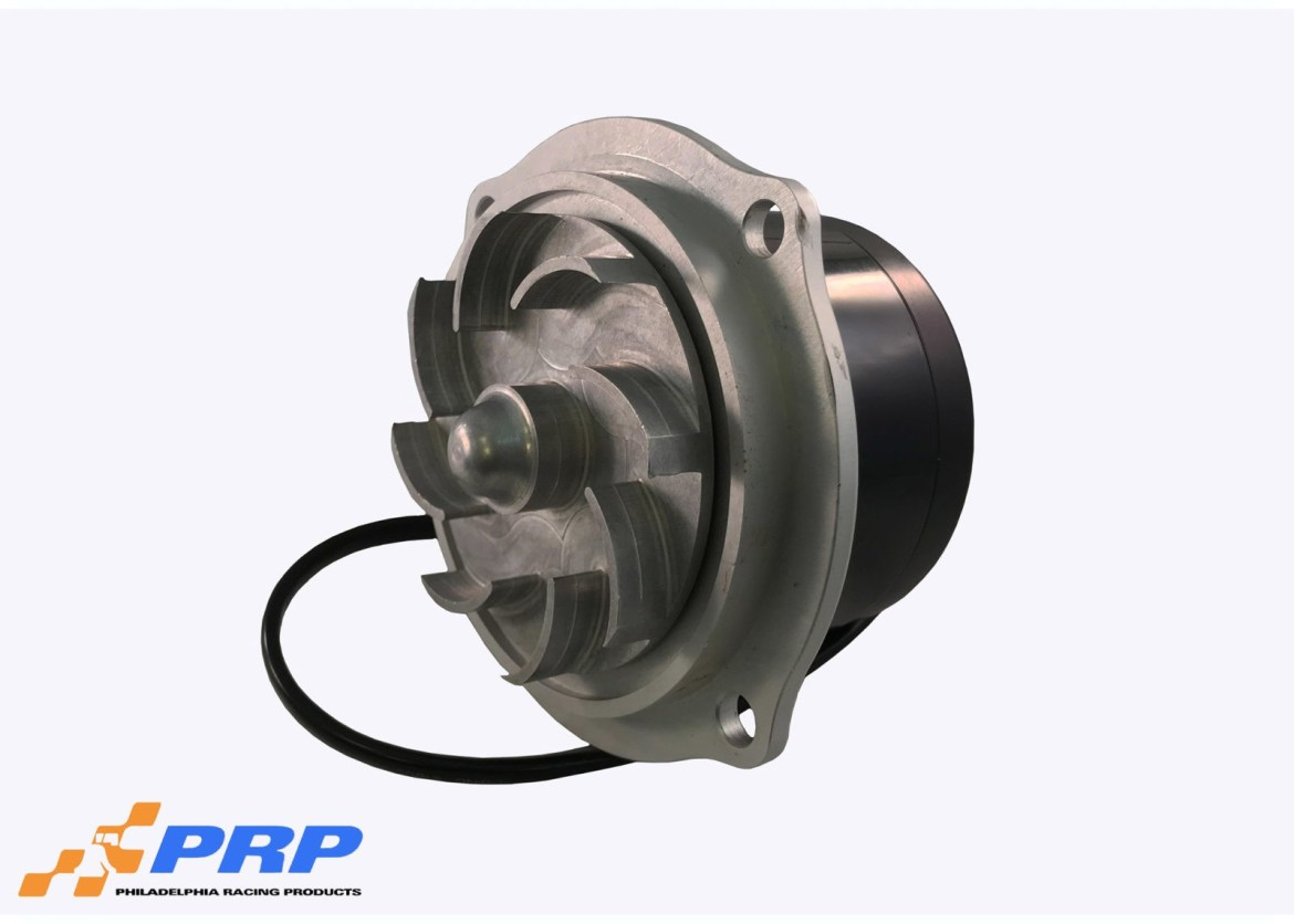 Silver and Black Mopar Electric Water Pump made by PRP Racing Products