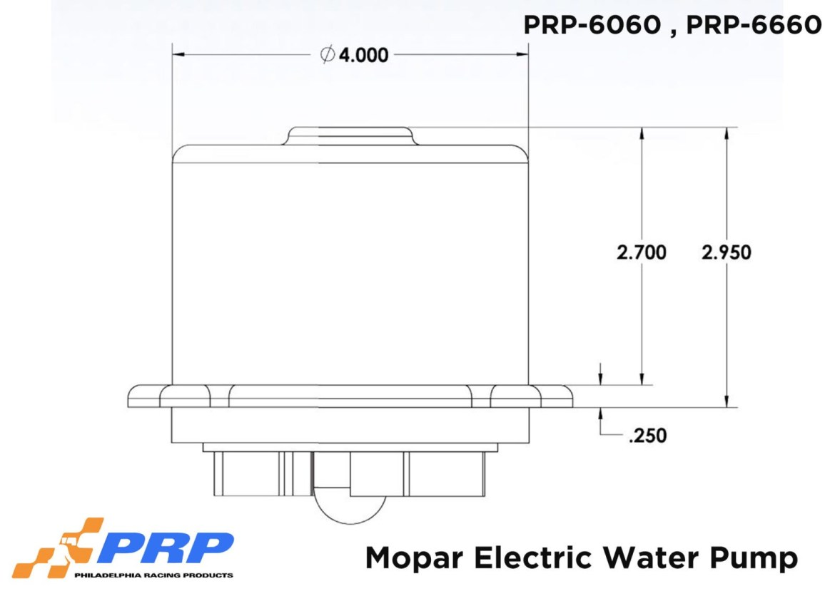 Mopar Electric Water Pump Sizing Graphic Made by PRP Racing Products