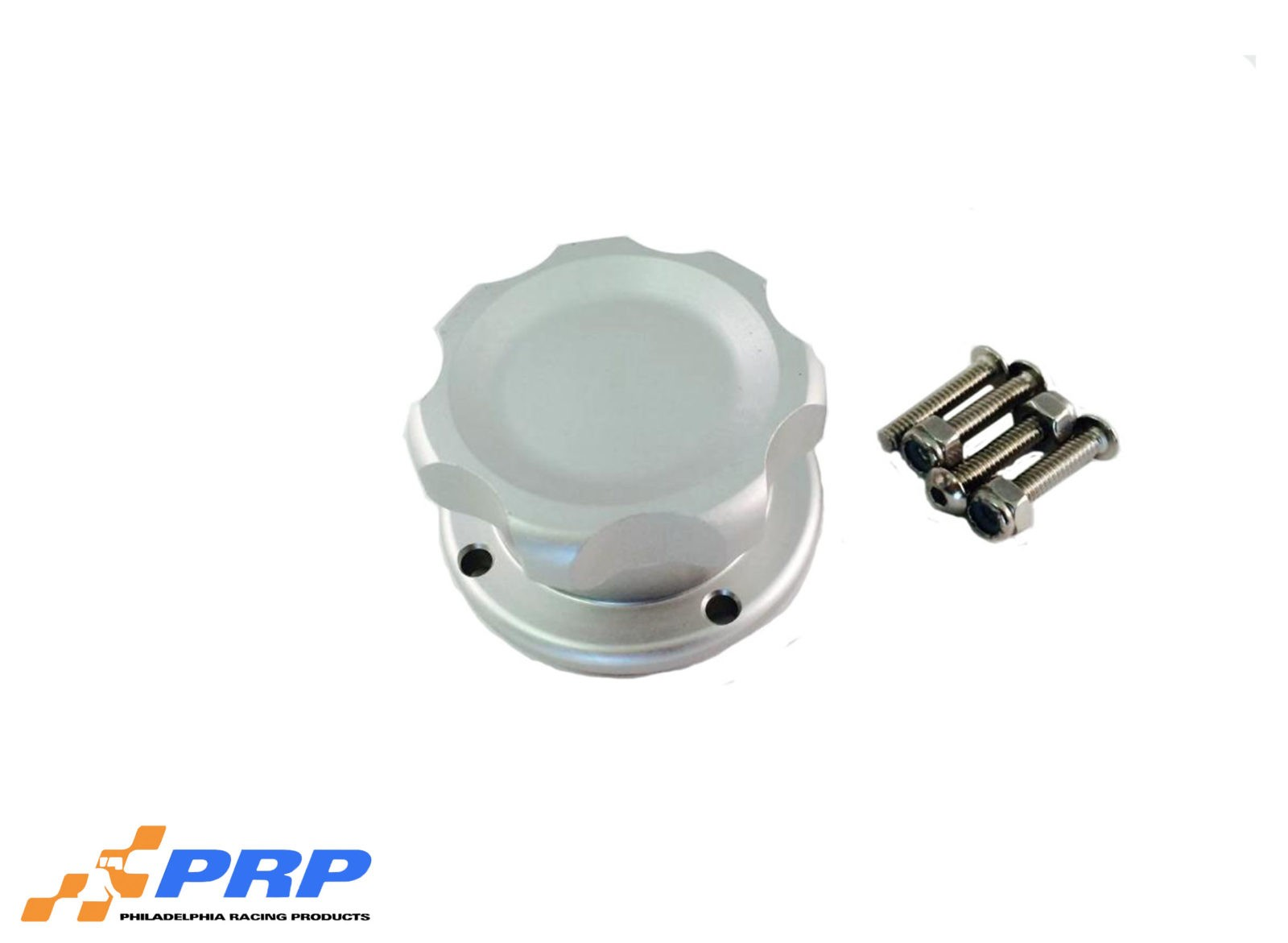 Clear Anodized Small Billet Filler Cap Kit with four bolt bung made by PRP Racing Products