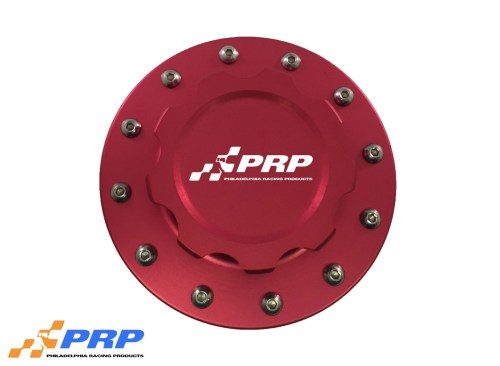 Red anodized 12 Bolt Fuel Cell Cap made by PRP Racing Products