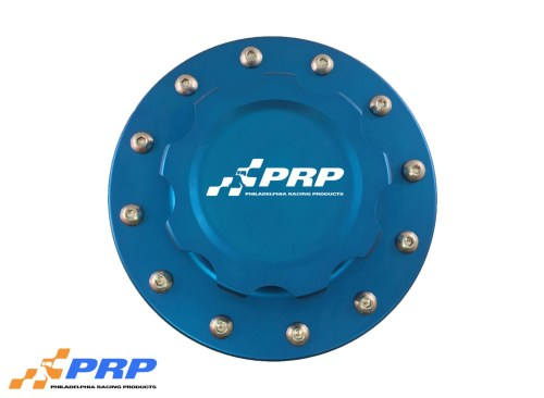 Blue anodized 12 Bolt Fuel Cell Cap made by PRP Racing Products