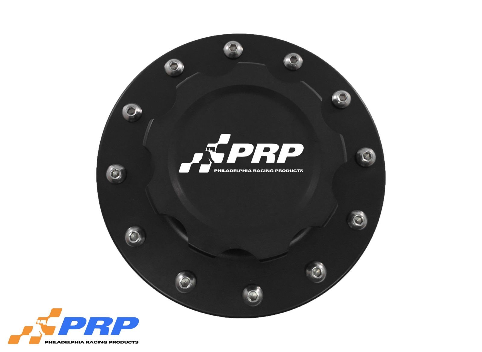 Black anodized 12 Bolt Fuel Cell Cap made by PRP Racing Products