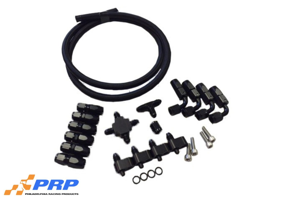Black LS Crossover Kit with hose, fittings and hardware
