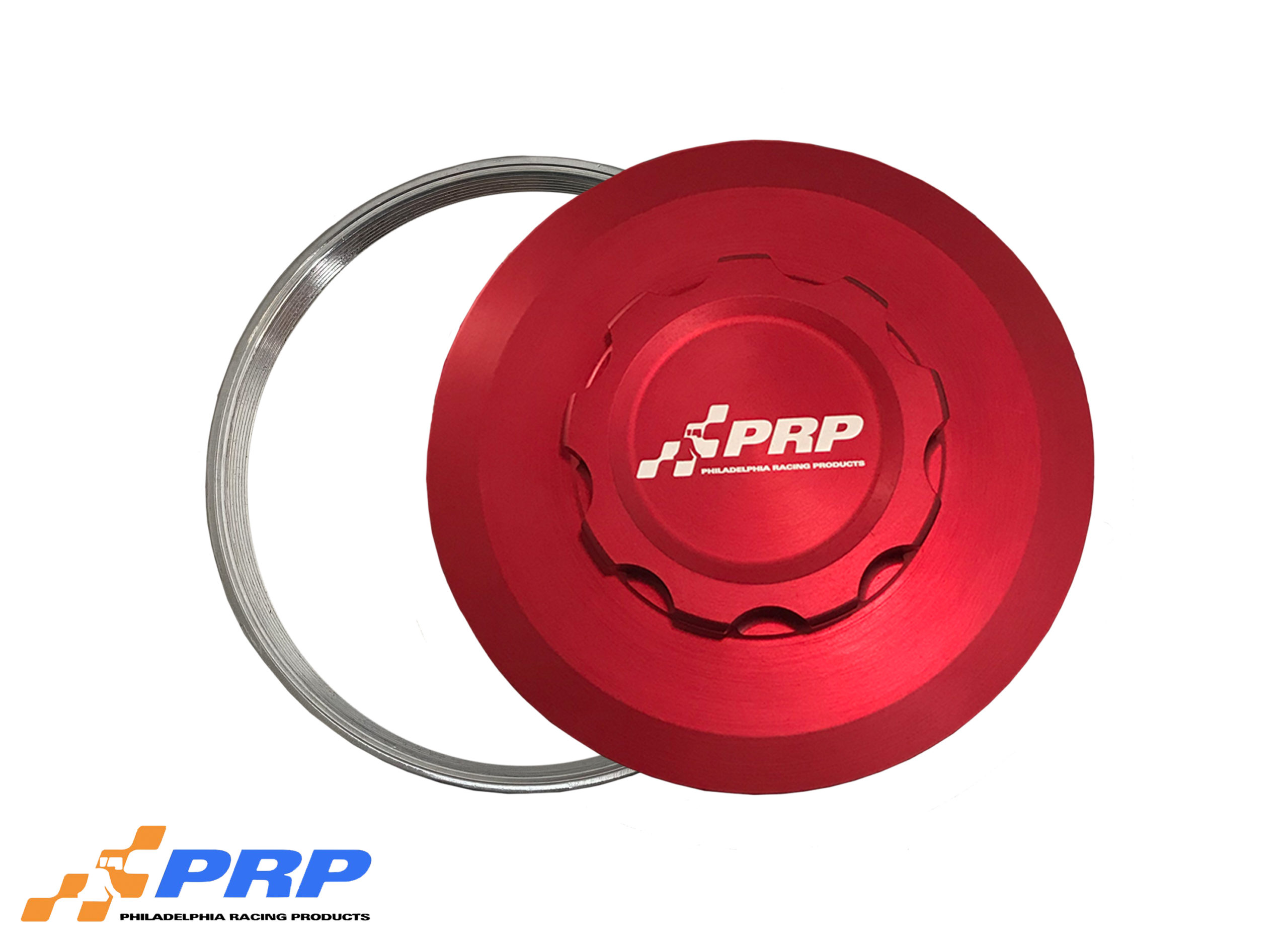 Red Intercooler Cap with weld on bung made by PRP Racing Products