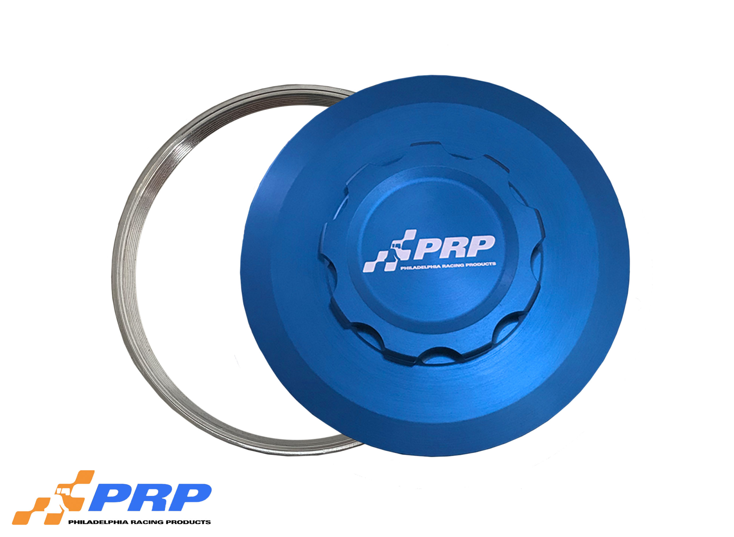 Blue Intercooler Cap with weld on bung made by PRP Racing Products