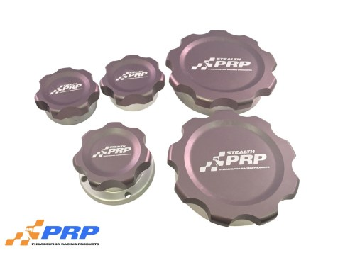 Stealth Filler Caps made by PRP Racing Products Medical gray, gun metal finish