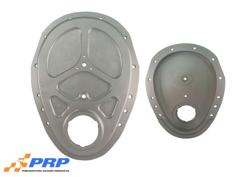 Clear Billet Timing Cover front and back made by PRP Racing Products