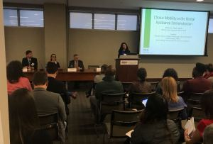 Panel: Choice-Mobility in the Rental Assistance Demonstration. From left to right: Brian Knudsen (PRRAC), Sheryl Seiling (Housing Authority of Cook County), Tom Davis (HUD Office of Recapitalization), and Megan Haberle (PRRAC).
