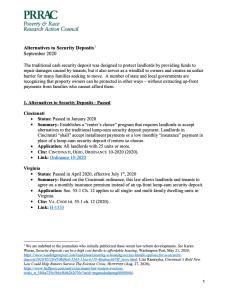 Alternatives to Security Deposits (PRRAC, September 2020)