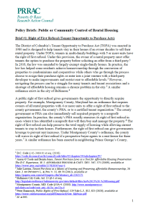 Public or Community Control of Rental Housing Policy Brief No. 1: Right of First Refusal - Tenant Opportunity to Purchase Acts (PRRAC, October 2020)