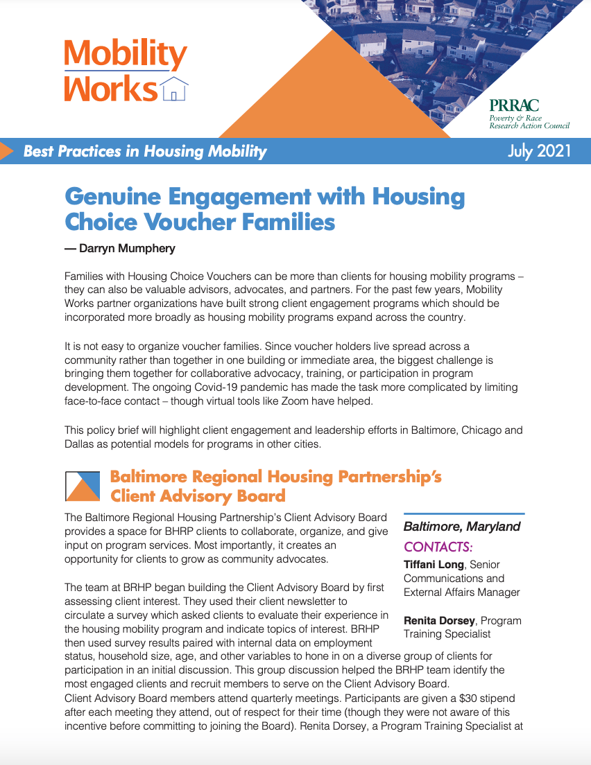 Genuine Engagement with Housing Choice Voucher Families (Mobility Works & PRRAC, July 2021)