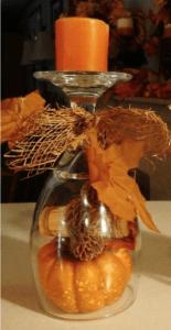 wine glass fall decor