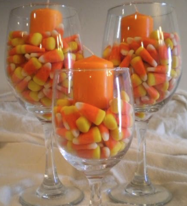 wine glass candy corn candle holder