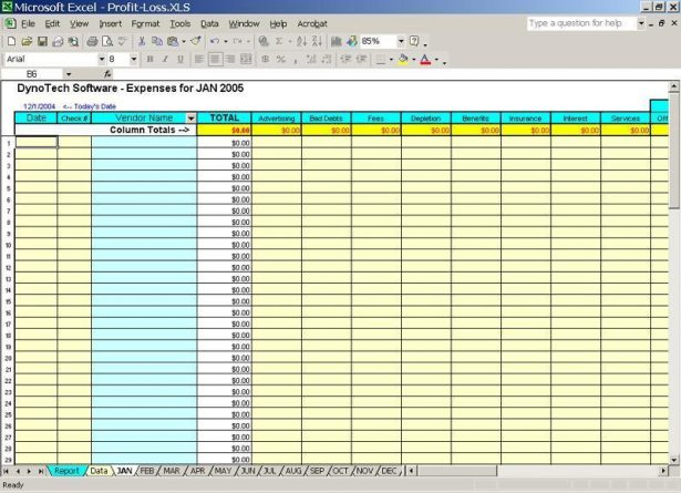 bookkeeping excel template