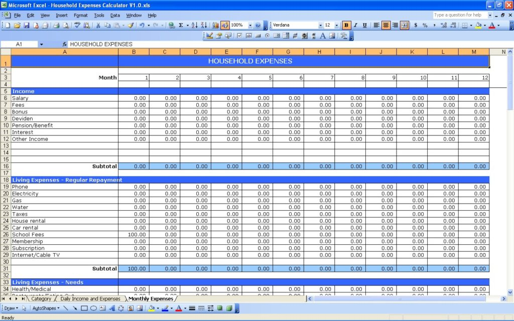 daily income and expense excel sheet sample 6
