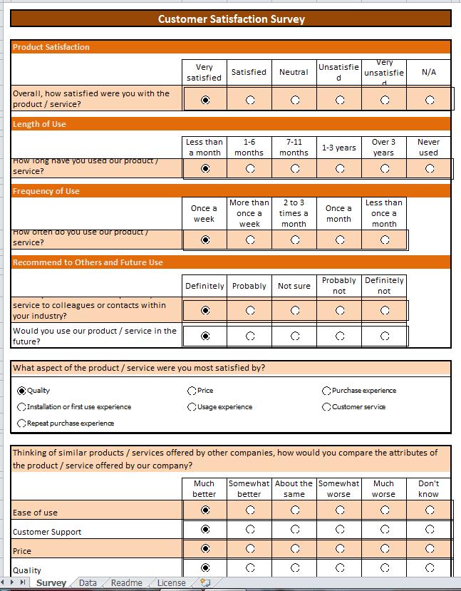 excel 2017 survey template sample