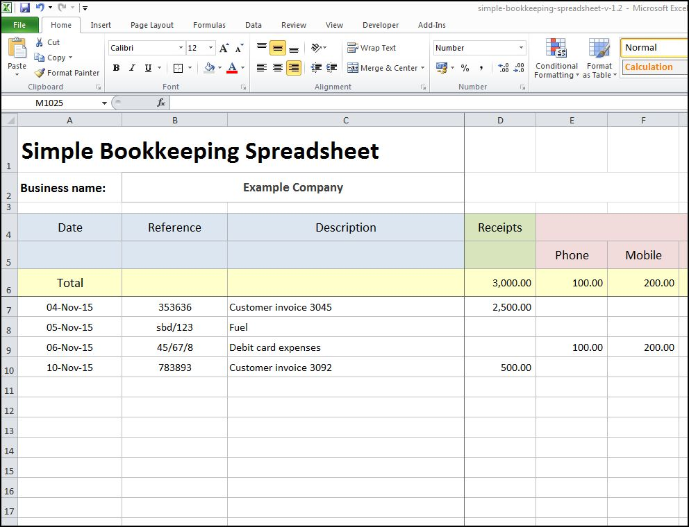 excel accounting spreadsheet sample 1