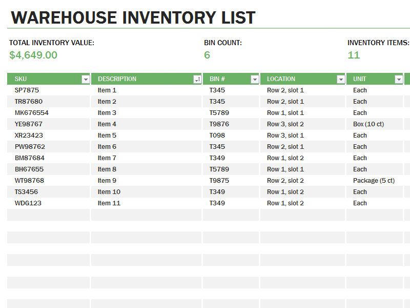 excel inventory template with formulas sample