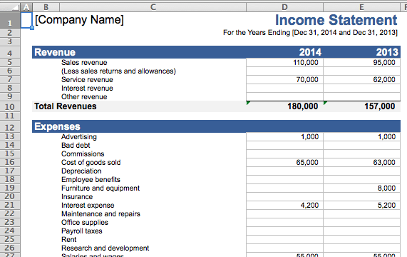 excel template for small business bookkeeping sample
