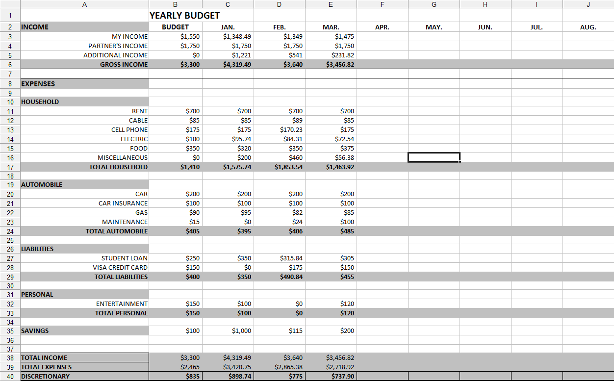 free montly budget template