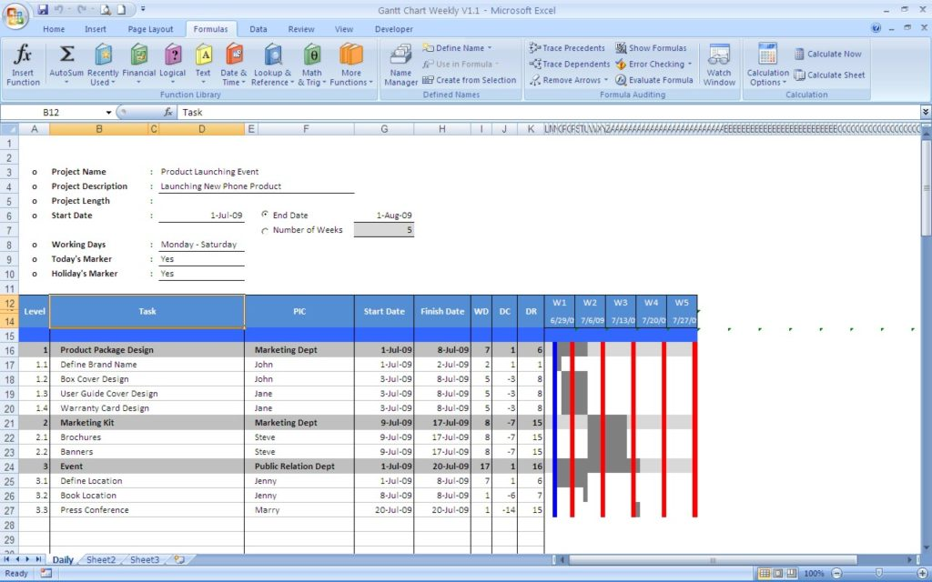 gantt chart template word sample