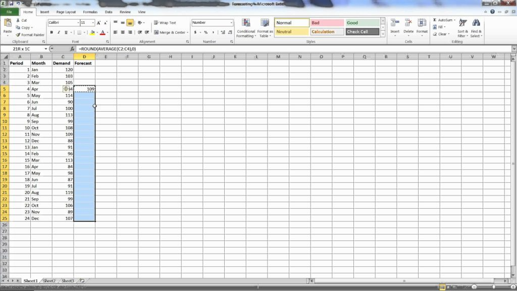 how to forecast sales in excel sample